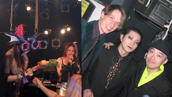 Gothika singer, Maya club organizer and Selia singer celebrate birthday at J-Goth club event in Shibuya, Goth club in Kabuki-cho, midnight mess.
